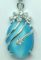 opal - Christmas Excellent blue Opal necklace Pendant Chain pc
