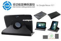 360 Degree Rotation cuir Cover Case Stand For Google Nexus 10 pouces Tablet BLK