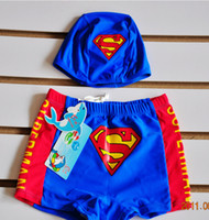 Boy Two-piece 2T-3T Super hot small superman swimming trunks The boy bathing suit Children's flat foot swimming trunks distribution caps