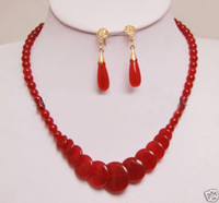 Wholesale Christmas beautigul natural Red Jade necklace Earring Set