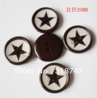 Wood 2-Holes Button Eco-Friendly Free Shipping Wholesale 100pcs 20*20MM 2-Holes Star Shape Dark Brown Color Wooden Buttons Clothing Accessories 004006017