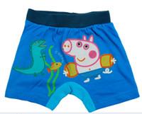 Boy Swim Trunks 2-7 Y 2-7 Y 5 Pcs Lot 2014 New Fashion Summer Boys Baby Child Kids Cartoon George Peppa Pig Monster Fish Blue Cotton Swim Shorts Trunks H0140509