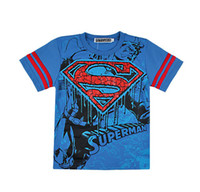 Boy Summer Standard Baby Boys Short Sleeve T-Shirt Superman Superhero Kids Summer Clothing Cartoon 100% Tee Top Wholesale 6pcs lot
