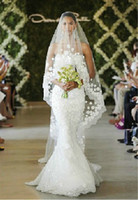 Stylish Fabulous Lace Flower Beaded White Bridal Veil 3m Cat...