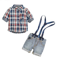 Summer name brand baby clothes - 2014 New baby boy suit brand name high quality cotton long sleeve plaid shirt overalls boys summer casual clothing set set