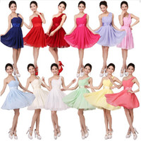 Reference Images Ribbon Sleeveless Cheap A-line Empire Chiffon Bridesmaid Dress Cap Sleeves Sweetheart One shoulder zipper Evening Gowns Prom Dresses Under $50