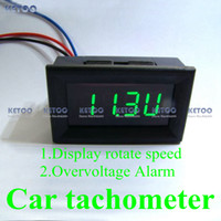 Wholesale Digital Green LED Tachometer Tacho R P M Gauge for Car Motorcycle with Battery Overvoltage alarm