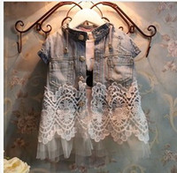 Wholesale 2014 Baby Girls Hot Sale Denim Tank Top Fashion Lace Patchwork Short Sleeve Waistcoat