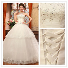 Wholesale New Hot Beaded Sweetheart Long Bridal Dress Pleated Tulle with Applique Court Train A line Lace up In Stock Wedding Dresses Gowns cheap
