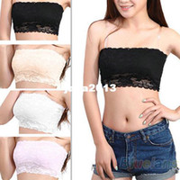 Bras Cotton Normal Women's Sexy Lace Casual Crop Boob Tube Top Bandeau Bra Strapless Seamless Solid Black White Pink Nude