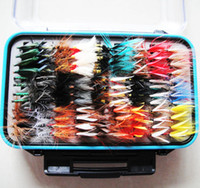 Wholesale Wet and Dry Flies Freshwater Fly Fishing Lures with Fly Clear Waterproof Box Trout Bait Fishing Equipment