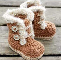 Baby crochet shoes snow booties ankle buckle strap wooden bu...