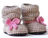 Baby crochet shoes snow booties ankle loops bow tie 0- 12M si...
