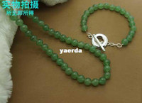Wholesale Korean version of the new fashion jewelry plated sterling silver bracelet set green jade stone necklace factory direct