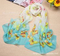 Wholesale Fashion beach towels women silk scarves butterfly printed long chiffon scarf shawl