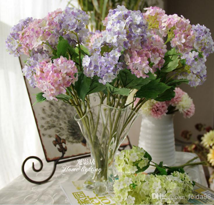 2017 wholesale new item artificial flowers bouquet real touch silk flower hydrangea for home. Black Bedroom Furniture Sets. Home Design Ideas