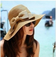 Wide Brim Hat Red Yarn Dyed New Fashion Women's Foldable Wide Brim Floppy Summer Beach Straw Hat Sweet Butterfly Cap