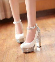 Wholesale 2014 new European and American fashion women leather high heeled shoes thick with straps Korea heels Size White wedding shoes