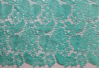 Wholesale Leaf Design Soft Cotton Guipure French Lace Fabric Swiss Voile Lace Water green Neat High Quality