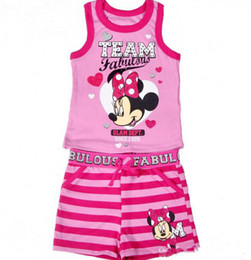 Wholesale New Arrival Cute Cartoon Minnie Mouse Fabulous Two piece Set Sleeveless Tee Tank Top Stripe Short Pants Sportsuit C2032