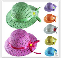 Cheap Girls Sunbonnet Baby Flower Summer Straw Hat Kids Sun Cap Wide Brim Floppy Hat 5pcs lot free shipping