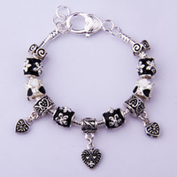 Beaded, Strands Celtic Women's Fast Shipping European Style 925 Silver Pan Charm Bracelets With Murano Glass Beads Handmade Silver jewelry PA1344