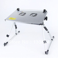 Metal Computer Desk Commercial Furniture 3Color Computer Table Adjustable Portable Folding Laptop Notebook Desk Stand Tray Stand PC Tables Bed Dual Fans New Freeshipping
