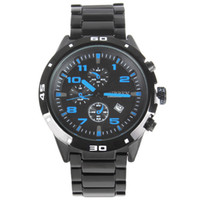 Dress Men's Auto Date Curren 8021 Sport Quartz Blue Dial Men Wrist Watch Analog Round Wristwatch with Stainless & Plated Metal Band with Date Hours