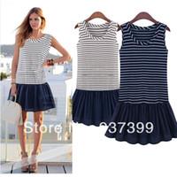 Work Mini Women New 2014 Summer Women Europe and America Stripe Splice Knitting Large yard Vest Sling Dress