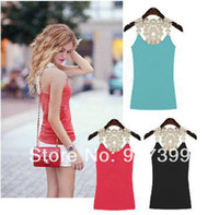 Women Cotton Polo New 2014 Fashion Leisure Summer Women Sling Vest Lace Hollow Splice Bottoming shirt