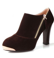 Half Boots Women PU Hot Sale Autumn Women's Black Bass Shoe Boots Designer Zipper Metal Cheap Platform Ankle Boots shoes Square heels High Quality