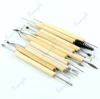 Bamboo & Wooden D3463  Free Shipping 1set 11pcs Wood Handle Wax Pottery Clay Sculpture Carving Modeling Tool DIY Craft