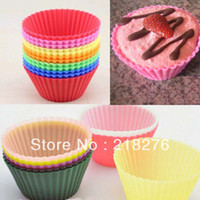 Wholesale 50pcs Multiple Colors Cake Baking Silicone Cup Cupcake Muffin Cases Liners Wedding Home Party