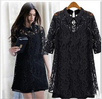 Women best uppers - best selling Lapel lace dress two piece women in Europe and the wind big yards loose bud silk unlined upper garment shirts