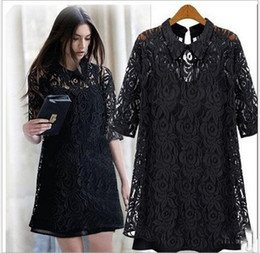 Wholesale best selling Lapel lace dress two piece women in Europe and the wind big yards loose bud silk unlined upper garment shirts