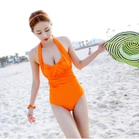 Women Monokini Pure Colour free shipping new Stylenanda women's winter swimwear neon orange halter-neck one-piece swimsuit