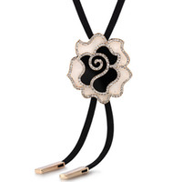 Pendant Necklaces South American Women's Della Rose flower diamond sweater chain length long section of Korean wild leather cord necklace pendant new clothes 190