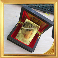 Wholesale 10 or more New style U S dollar gold foil playing cards with wooden box No pollution