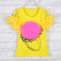 Girl Summer Standard 2014 summer wear children's wear children's baby cotton Clothing girl children's wear short sleeve T-shirt chest big flowers of the girls
