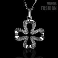 Cheap FGN451 Fashion Platinum Plated Necklace CZ Diamonds Flower Pendant Necklace