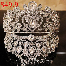 Wholesale Hot Sell Luxurious Junoesque Sparkle Pageant Crowns Rhinestone Plus Size Wedding Bridal Crowns Bridal Jewelry