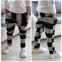 Wholesale freeshipping hot Children s black and gray stripe big zipper child cotton boys harem pants kids casual pants amp Trousers