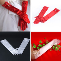 Wholesale White Red Satin Evening Gloves for Wedding Party Ballgown Prom Opera Halloween Free amp Drop Shipping