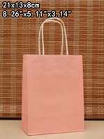 Paper Hand Length Handle Kraft Paper Fashion gift paper bag,21*13*8cm,Pink paper bag with handle, Christmas bag, Wholesale (ZX-0079)