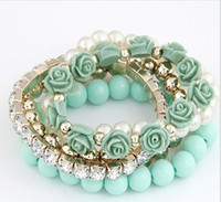 Wholesale Fashion Layers Mixed Match Set Drill Beads Flower Elasticity Blue Black White Pink Red Color Bangle China