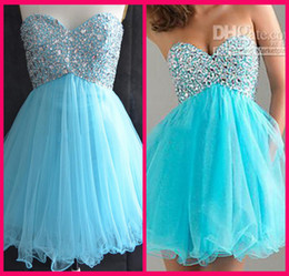 Wholesale 2015 Sweetheart Light Blue Graduation Dresses For College High School th Grade Tulle Beads Short A Line Homecoming Party Prom Gown