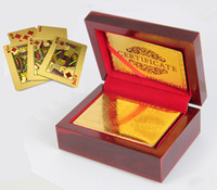 Wholesale 5pcs K Karat Gold Plated Poker Playing Card with Wood Box and Certificate Gift