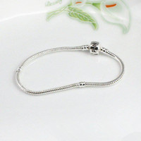 "Chains European Beads Silver Plated 7"" 18cm women men bracelet Pandora chain new free shipping 925 sterling silver fashion bangle fit charms beads"