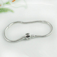 Chains European Beads Silver Plated 8'' 20cm women men bracelet Pandora chain new free shipping 925 sterling silver fashion bangle fit charms beads .