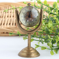 Wholesale Copper ball mechanical pocket watch clock table clock crystal ball Lalique glass ball bronze retro fashion